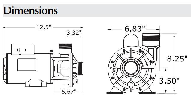 1/12 hp circ pump dimensions