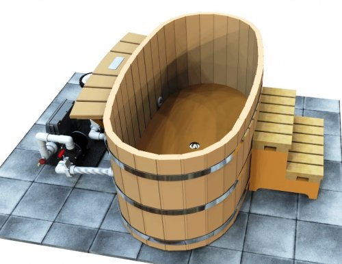 Japanese Wood Ofuro Soaking Tub for 2 - Electric Heater