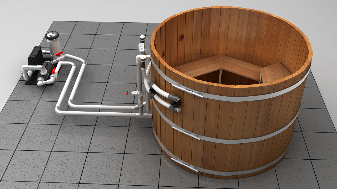 4 Person Wood Hot Tub Electric Heater With Jets